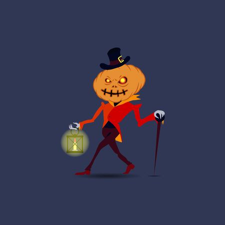 Halloween vector illustration. Pumpkin character in a red jacket and hat on a dark background with a cane and a flashlight in his hands