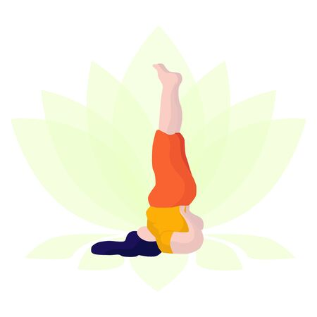 Vector illustration of a headstand girl who practices yoga with overweight on the background of the lotus in a flat style. Happy body positive concept Illustration