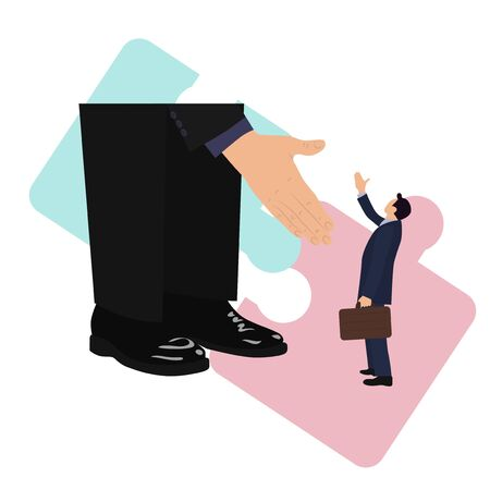 Helping business hand.Vector illustration in a flat style.Isolated on a white background
