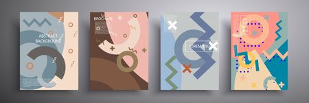 Abstract vector illustration of light covers with graphic geometric elements. Template for brochures, covers, notebooks, banners, magazines and flyers, modern website template design Illusztráció