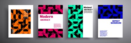 Vector illustration of a bright cover with graphic geometric elements. Colorful halftone gradients. Collection of templates for brochures, posters, banners, flyers and cards Illusztráció