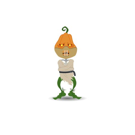 Halloween vector illustration. Scarecrow pumpkin on a white background in a dressing suit and a mask on his face