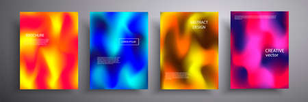 Vector illustration of a bright cover with graphic geometric elements. Colorful halftone gradients. Collection of templates for brochures, posters, banners, flyers and cards Иллюстрация