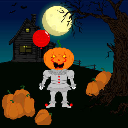 Halloween vector illustration. A stuffed pumpkin in a clown costume with a balloon in his hand on a background of a haunted house and a full moon