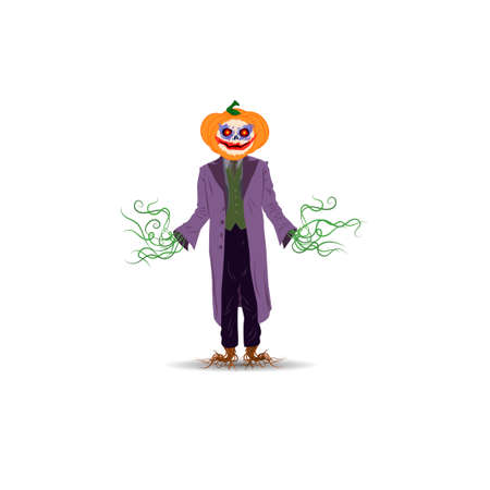 Halloween vector illustration. A stuffed pumpkin in a cloak on a white background with leaves instead of arms and legs Ilustração