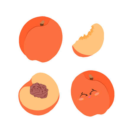 Bright vector set of illustrations of a whole peach, half and slices on a white background in a flat style for design