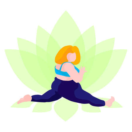 A full girl does yoga on a lotus background. Vector illustration of a girl who sits on a twine, in a flat style. A happy body is a positive concept