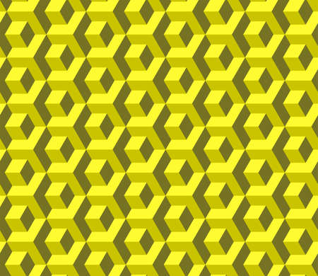 Abstract cube pattern in editable vector format. Seamless Cubes Pattern. Yellow color. 3D vector background. Modern stylish texture.