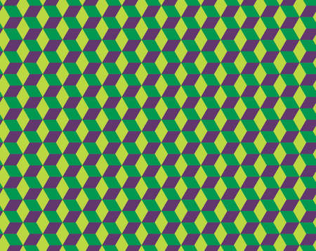 Seamless Cubes Pattern. 3d green vector geometric wallpaper, cube pattern background. Optical illusion.Modern Graphic Design.
