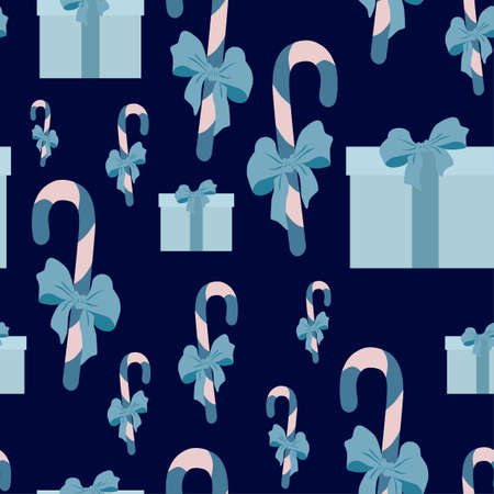 Seamless pattern with the image of sweets and gifts on a blue background.Vector illustration in a flat style for decoration for Christmas and New Year.