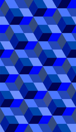 Abstract seamless pattern with blue color cube Vecteurs