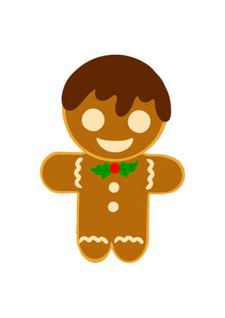 Festive cookies gingerbread man. Human-shaped cookies with colored glaze. Cute vector illustrations for christmas, new year, winter holiday, cooking, new year s eve.