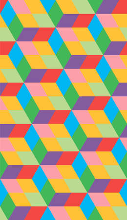Abstract vector cube. Endless seamless pattern from multicolored cubes. Modern graphic design. Çizim