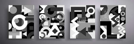Set of covers. Abstract geometric pattern background, vector circle, triangle and square lines, art design. Black and white background. Compositions for book covers, posters, flyers, magazines. Ilustracja
