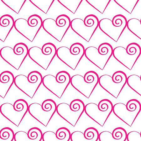 Romantic pink heart pattern. Vector illustration for holiday design. Many flying hearts on background. For wedding card, valentine day greetings. Illustration