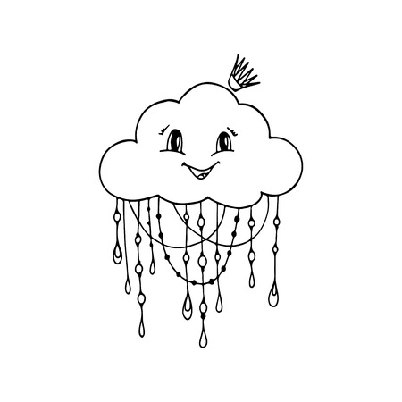 Doodle Hand Drawn Vector of Mrs. Cloud. Abstract Cloud Background. Illustration