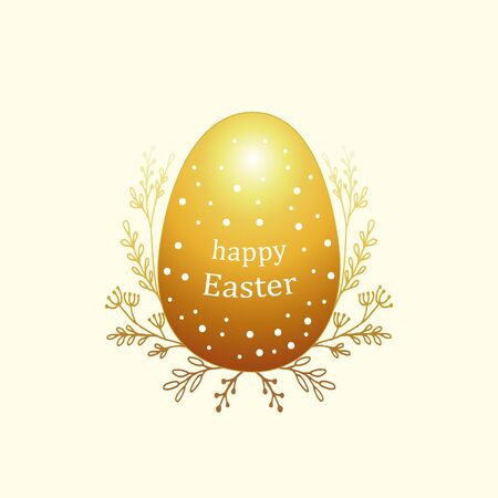 golden egg: Bright greeting card for Easter with eggs. Color composition with simple geometric figures