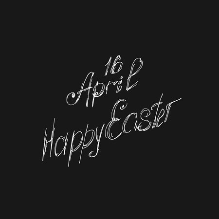Greeting card 16 April, isolated calligraphy lettering, Happy Easter, word design template.