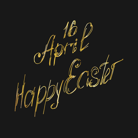 Vector illustration.16 April, isolated calligraphy lettering, Happy Easter.