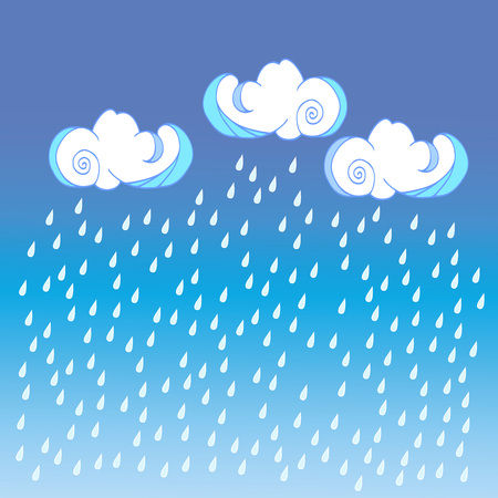 Raining clouds on color background. Cute cloud poster design for baby room decor, kids cloth decoration.