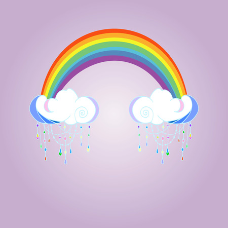 Rainbow and raining clouds on color background. Cute cloud poster design for baby room decor, kids cloth decoration.