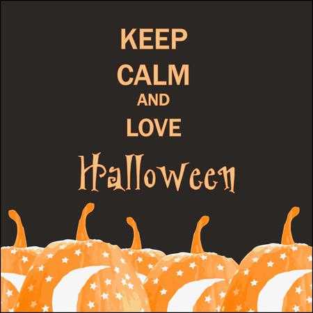 Keep calm and love halloween. Hand drawn with Halloween holiday.