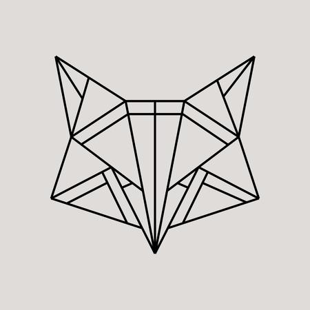 Geometric fox head isolated on grey background vintage vector design element illustration Vector Illustration