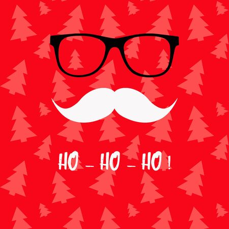 Christmas red greeting card with eyeglasses and beard design.