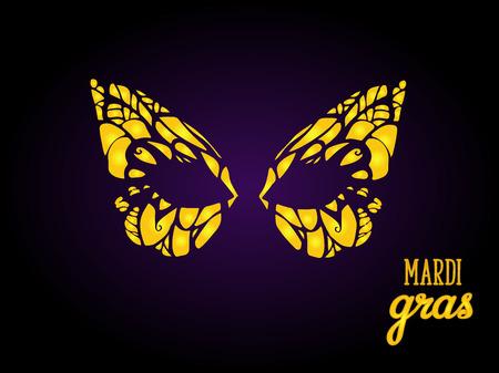 Golden mask for Mardi Gras, Venetian carnival masquerade.