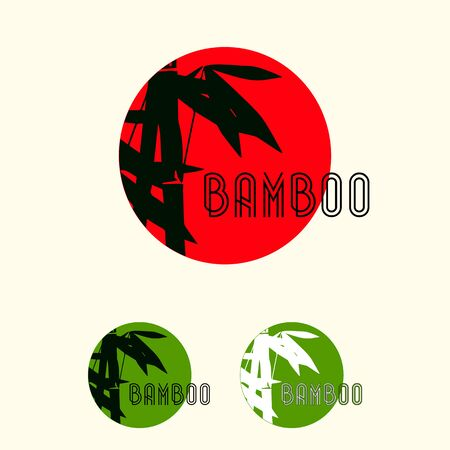 Bamboo leaves and stem icon in a round badge.