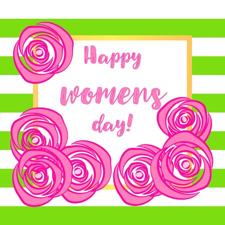Elegant greeting card design with illustration of flowers for Happy Womens Day celebration.