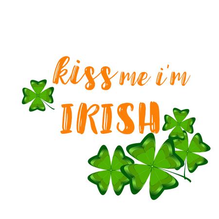 私はシャムロックのデザインでアイルランドのタイポグラフィですキス私。