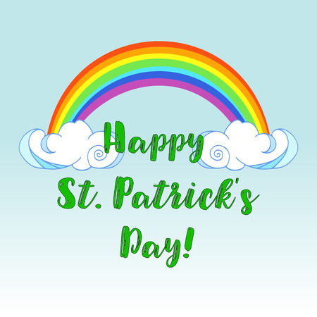 Happy St. Patricks Day text with rainbow on clouds design.