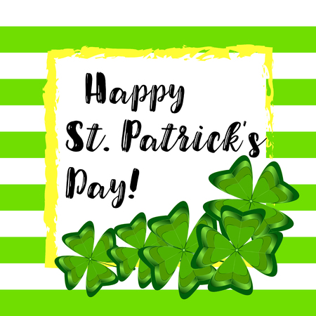 Illustration of Happy Saint Patricks Day text with hand drawn typography badge on shamrock watercolor background.