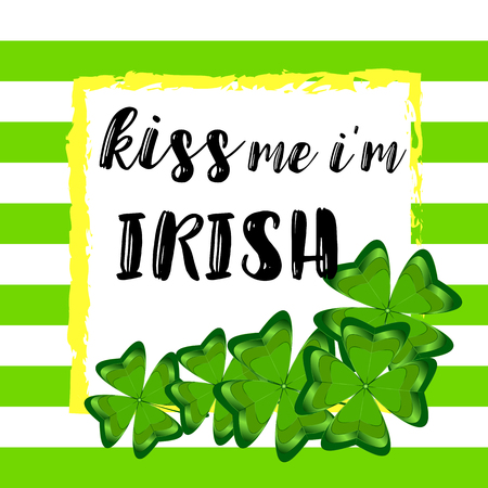 Kiss me Im Irish text with hand drawn watercolor shamrock design on striped background.  イラスト・ベクター素材