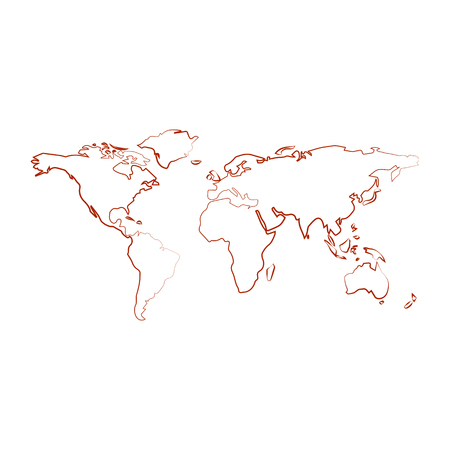 World map with country borders, outline on white background