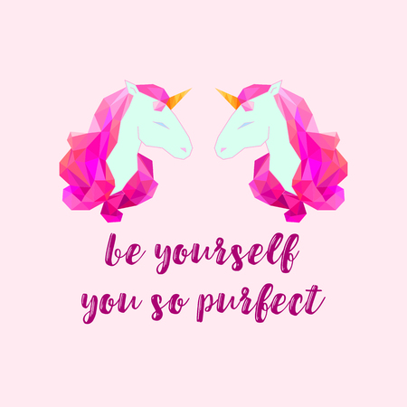 Vector unicorn head silhouette with text. Inspirational illustration design for print, banner, poster.  イラスト・ベクター素材
