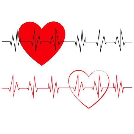 Heart pulse, one line illustration.