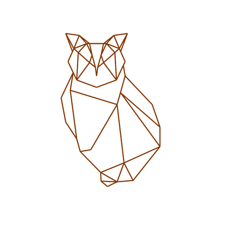 Vector polygonal illustration with geometric owl, Origami style.