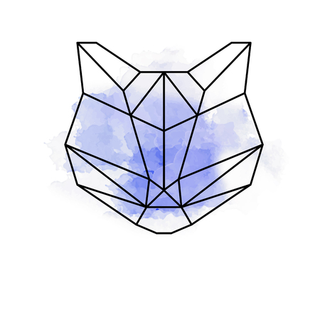 Abstract tiger or cat geometric shapes with watercolor  イラスト・ベクター素材