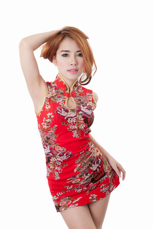 aisa: Beautiful Asian model wearing Cheongsam