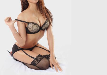 nude lady: Beautiful slim body of asian woman