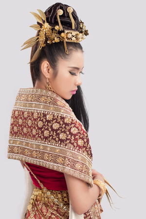 thai decor: beautiful Thai Woman In Traditional dress of Thailand