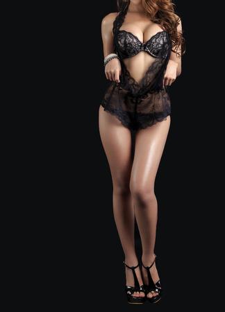 hot breast: Young beautiful Sexy Asian model wearing elegant lingerie - in studio