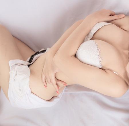 girl boobs: Beautiful slim body of woman in studio