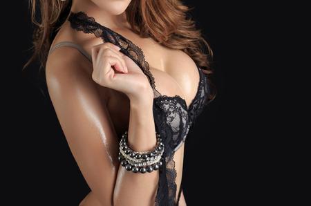 Beautiful slim body of woman in studio