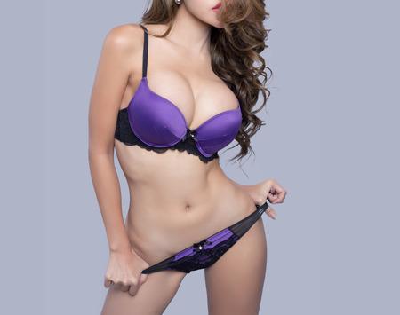 hot breast: Beautiful slim body of woman in studio