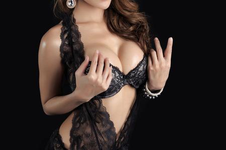 naked lady: Beautiful slim body of woman in studio