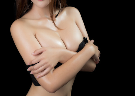 big boobs: Asian beauty,sexy woman model on black background Stock Photo
