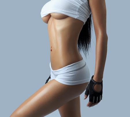 cuerpos desnudos: hermosa figura femenina - tiro del estudio Foto de archivo